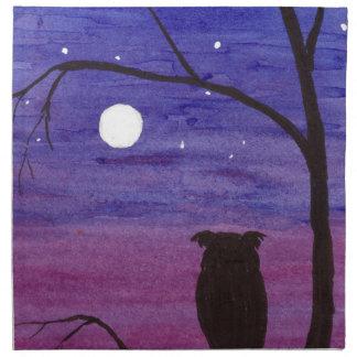 Serviettes De Table Hibou et pleine lune