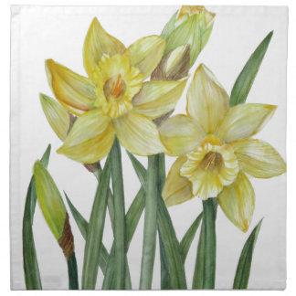 Serviettes De Table Illustration de portrait de fleur de jonquilles