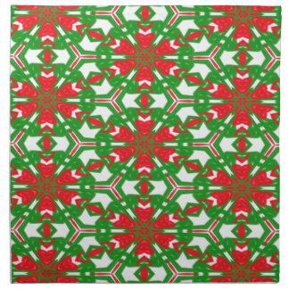 Serviettes De Table Kaléidoscopes rouges, blancs et verts 3373