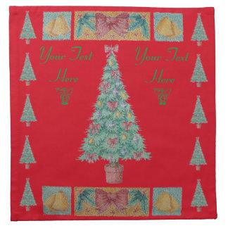 Serviettes De Table L'arbre de Noël avec le rouge de décorations
