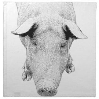 Serviettes De Table Le porc en noir et blanc
