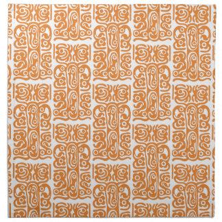 Serviettes De Table Le tribal parlent l'art, blanc sur la couleur