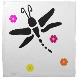 Serviettes De Table libellule et fleurs