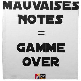 Serviettes De Table MAUVAISES NOTES = GAMME OVER - Jeux de mots