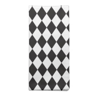 Serviettes De Table Motif de harlequin de diamant en noir et blanc