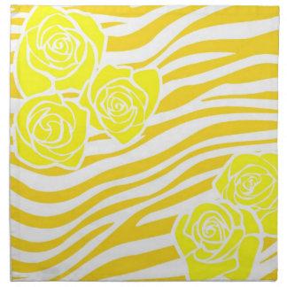 Serviettes De Table Motif de zèbre + roses jaunes