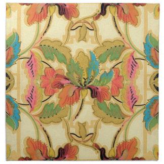 Serviettes De Table Motif orange vintage de papier peint floral de