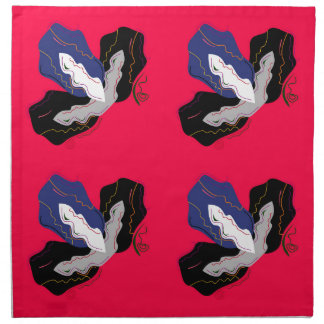 Serviettes De Table Orchidées rouge-rose sauvages avec le noir