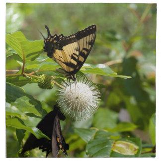Serviettes De Table Papillon de machaon de tigre sur le fleur sauvage
