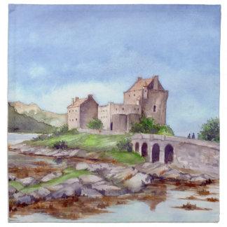Serviettes De Table Peinture d'aquarelle de château d'Eilean Donan