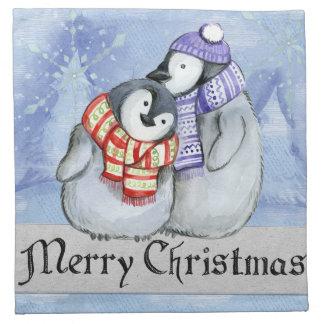 Serviettes De Table Pingouins doux d'hiver de Joyeux Noël petits