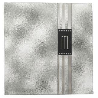 Serviettes De Table Rayures en métal sur le monogramme en verre ID443