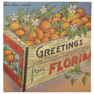 Serviettes De Table Rétros oranges vintages de la Floride