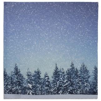 Serviettes De Table Scène gelée de forêt d'hiver de neige