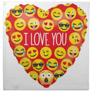 Serviettes De Table Stupéfier je t'aime le cadeau d'Emoji
