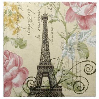 Serviettes De Table Tour Eiffel floral d'élégance de rose minable de
