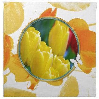 Serviettes De Table Tulipes jaunes dans le cadre rond coloré