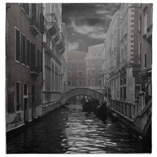 Serviettes De Table Venise en noir et blanc