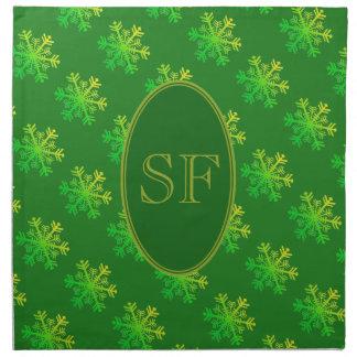 Serviettes De Table Vert de flocon de neige et monogramme de fête d'or