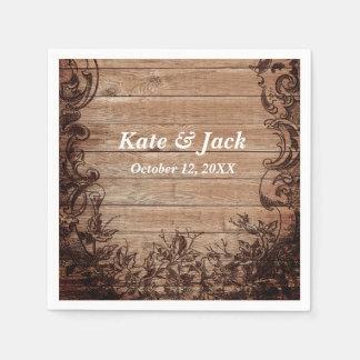 Serviettes élégantes en bois rustiques de mariage serviette jetable