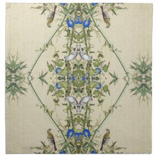 Serviettes en bambou de tissu d'oiseaux de fleurs