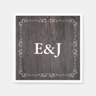 Serviettes en bois de mariage de mariage serviette jetable
