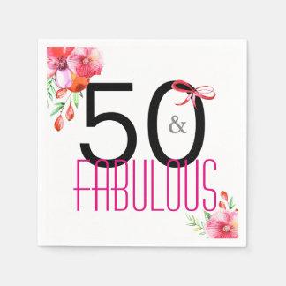 Serviettes En Papier 50 et cinquantième serviettes fabuleuses de fête