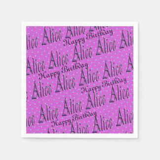 Serviettes En Papier Alice, joyeux anniversaire, serviettes roses de