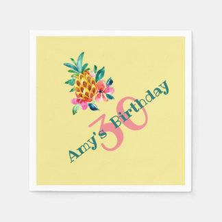 Serviettes En Papier Ananas de Luau d'anniversaire