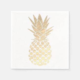 Serviettes En Papier ananas de regard de feuille d'or de faux