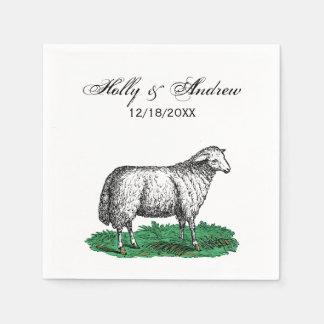 Serviettes En Papier Animaux de ferme vintages de brebis de moutons