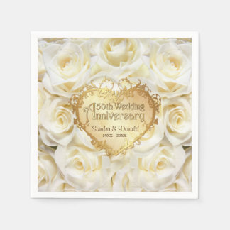 Serviettes En Papier Anniversaire de mariage de rose blanc cinquantième