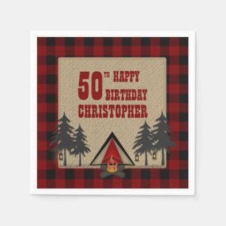 Serviettes En Papier Anniversaire rouge rustique de camping de feu de