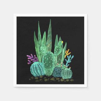 Serviettes En Papier Aquarelle, cactus