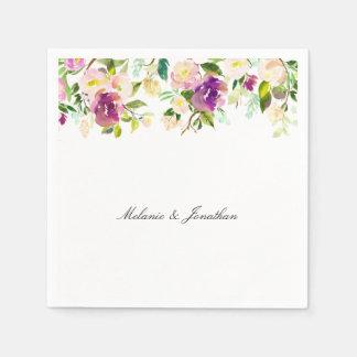 Serviettes En Papier Aquarelle florale rose assez pourpre