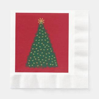 Serviettes En Papier Arbre de Noël vert, chevaux courants d'or sur le