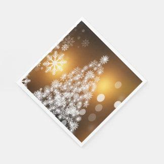 Serviettes En Papier Arbre d'or de flocon de neige de Bokeh de Noël