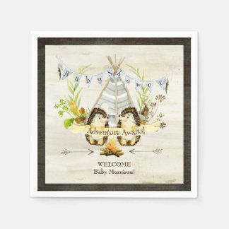 Serviettes En Papier Baby shower animal de Boho de Teepee de hérissons