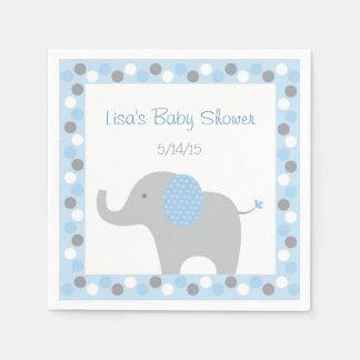 Serviettes En Papier Baby shower bleu d'éléphant