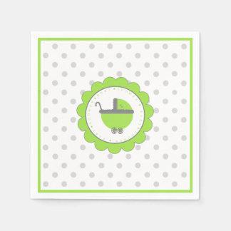 Serviettes En Papier Baby shower de vert et de gris de chaux