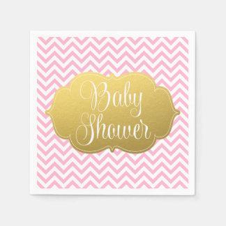 Serviettes En Papier Baby shower moderne de rose d'or de Chevron