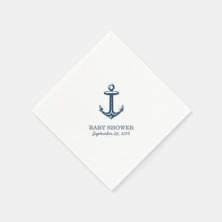 Serviettes En Papier Baby shower nautique d'ancre simple de bleu marine