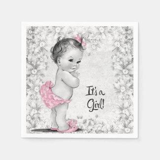 Serviettes En Papier Baby shower rose et gris vintage