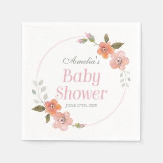 Serviettes En Papier Baby shower rose floral sensible de fille