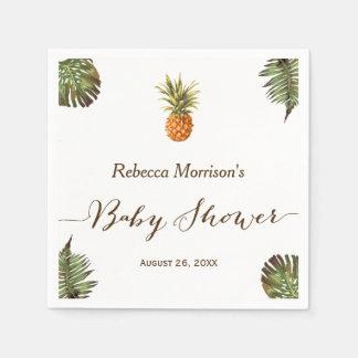 Serviettes En Papier Baby shower tropical d'été d'ananas de feuille