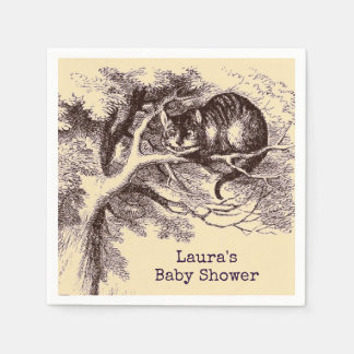 Serviettes En Papier Baby shower vintage de chat de Cheshire