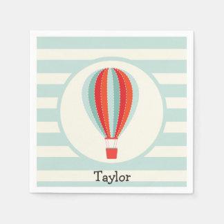 Serviettes En Papier Ballon à air chaud vert, rouge, orange