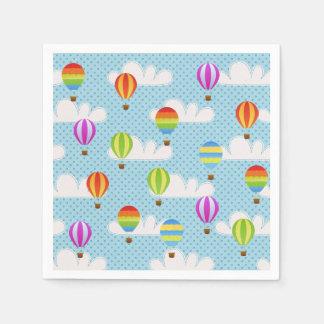 Serviettes En Papier Ballons d'air chaud en ciel pointillé nuageux