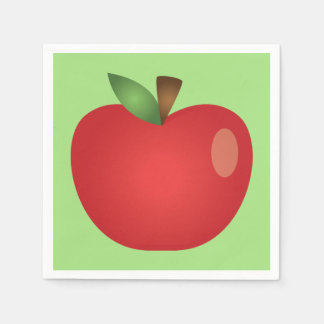 Serviettes En Papier Bande dessinée rouge Apple sur le vert