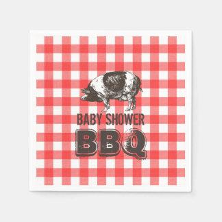 Serviettes En Papier BBQ rouge de baby shower de rôti de porc de